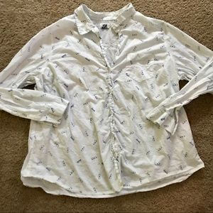 Old Navy Button Down with Glasses Print